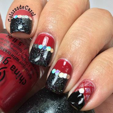 Red and Black nail art by Carolina Garcia