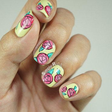 Paper Roses nail art by Rina Alcantara