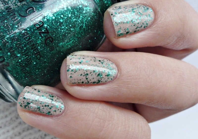 Miss Sporty 031 and China Glaze Pine-ing For Glitter Swatch by Romana