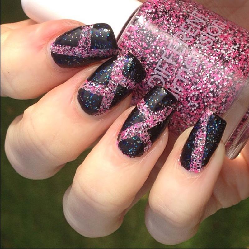 Geometric Glitter Mani nail art by Claire O'Sullivan