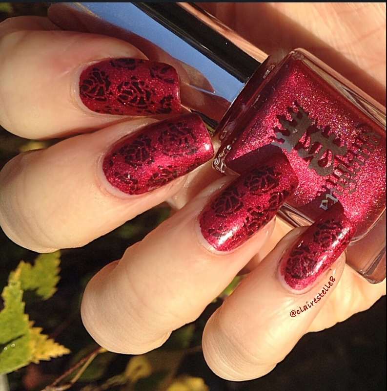 Aengland Rose Bower with stamping  nail art by Claire O'Sullivan