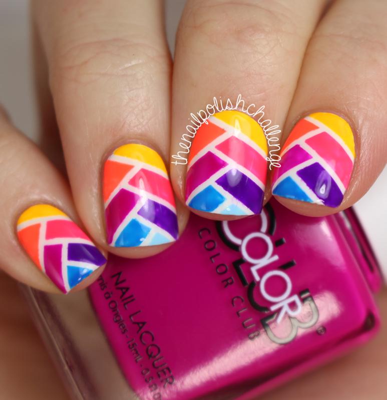 Striped Rainbow Fishtail Nails nail art by Kelli Dobrin