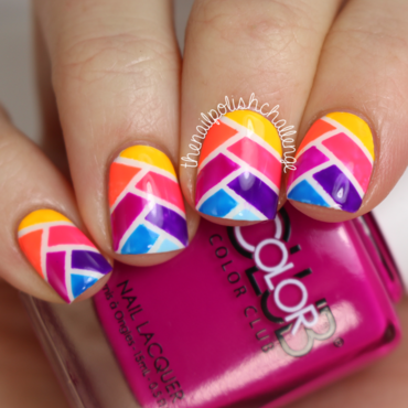 Striped Rainbow Fishtail Nails nail art by Kelli Dobrin