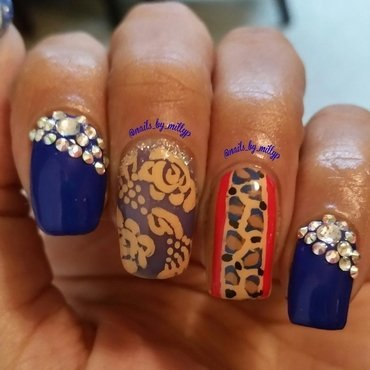 Spots and flowers  nail art by Milly Palma