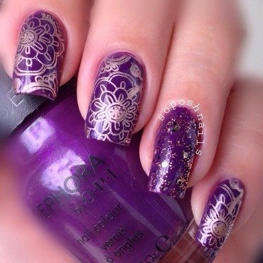 Purple and Bronze Flowers  nail art by Debbie