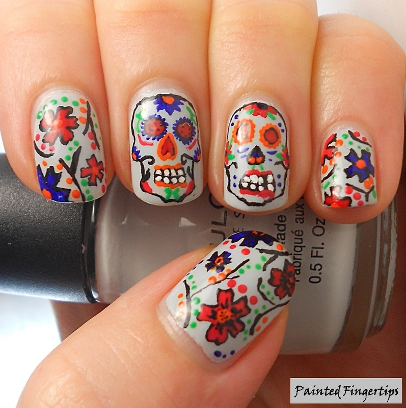 Sugar Skulls and Flowers nail art by Kerry_Fingertips