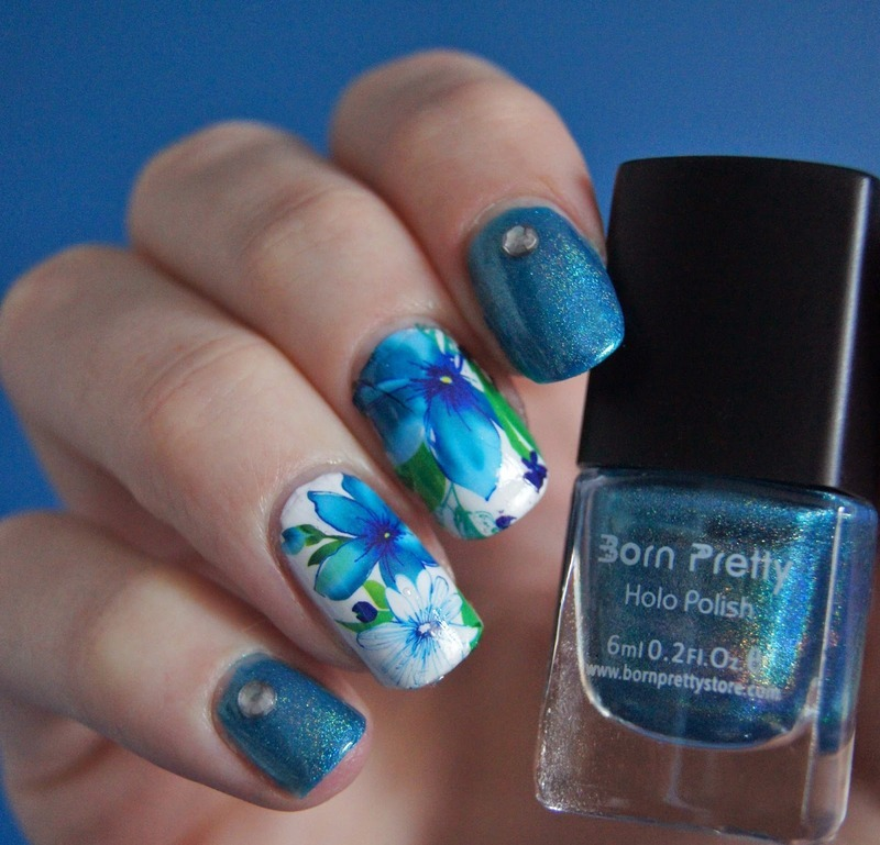 Awesome Shimmer Blue Lotus Nails  nail art by Born Pretty