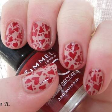 Stamped Hearts nail art by Iulia