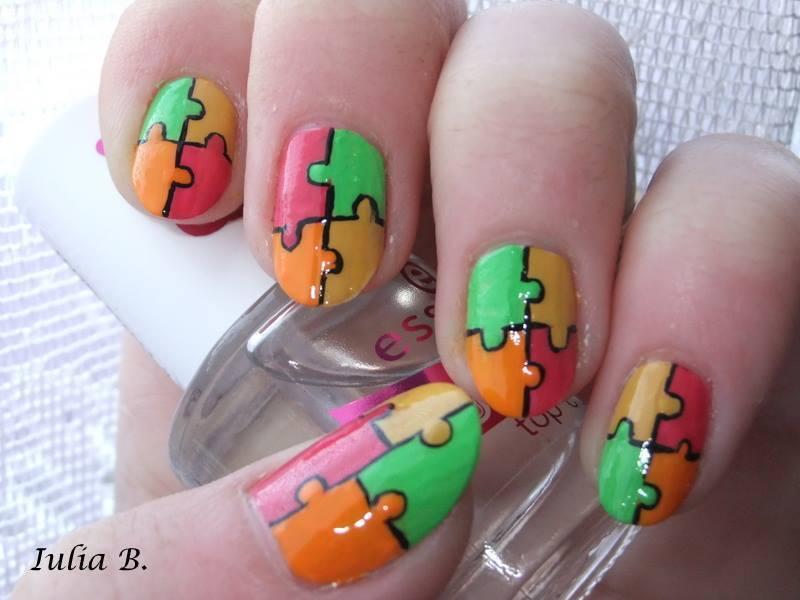 Jigsaw Puzzle nail art by Iulia - Nailpolis: Museum of Nail Art