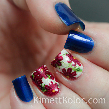 September: Sapphire and Asters nail art by Kimett Kolor