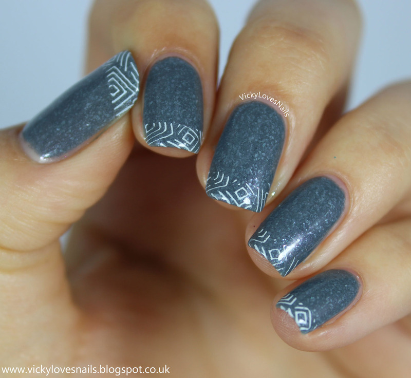 Stamped French Tips nail art by Vicky Standage