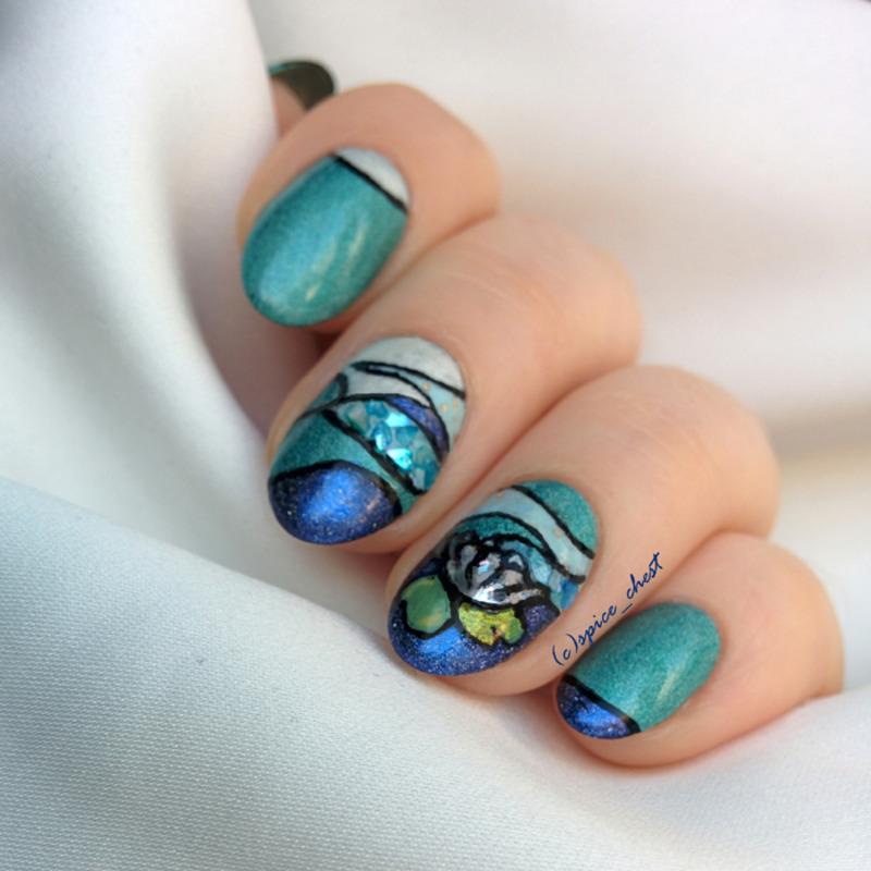 Art-deco waterlily nail art by Svetlana