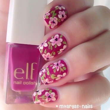 Floral print  nail art by Massiel Pena