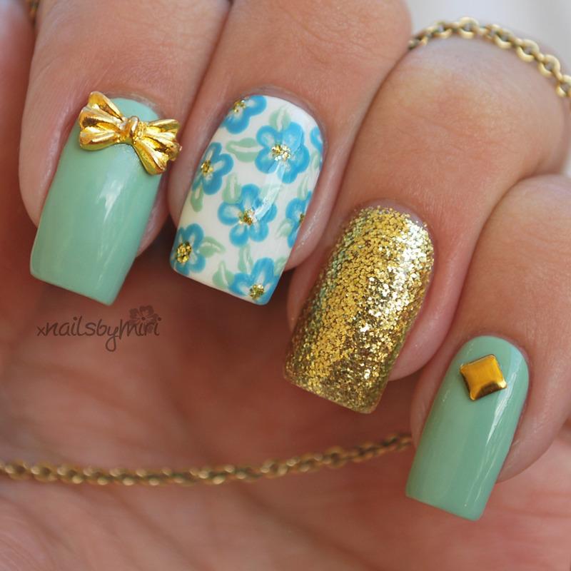 Classy & Floral nail art by xNailsByMiri