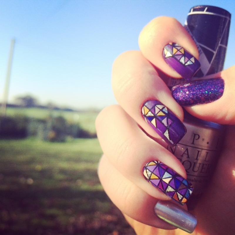 geometric gradients nail art by The_Roadrunner