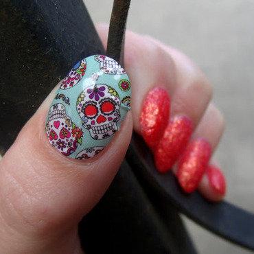 Dia de los Muertos nail art by Toria Mason