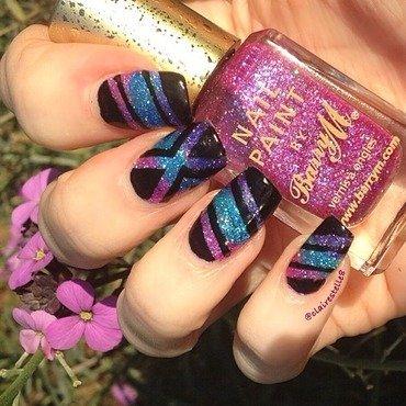 Glitter striping mani nail art by Claire O'Sullivan