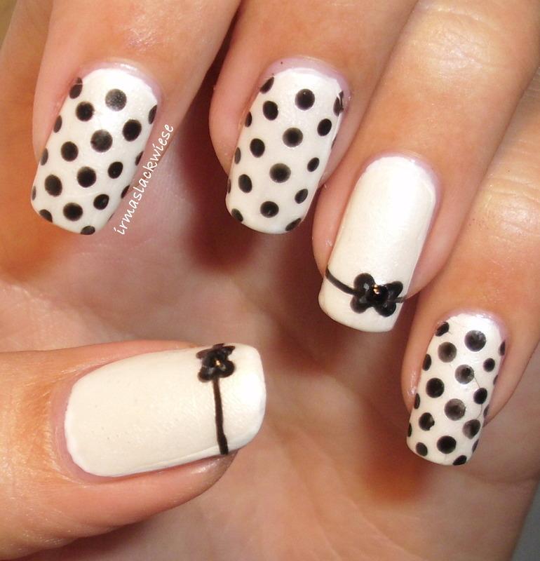 bows and dots nail art by irma