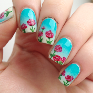 Gradients and flowers  nail art by NailThatDesign