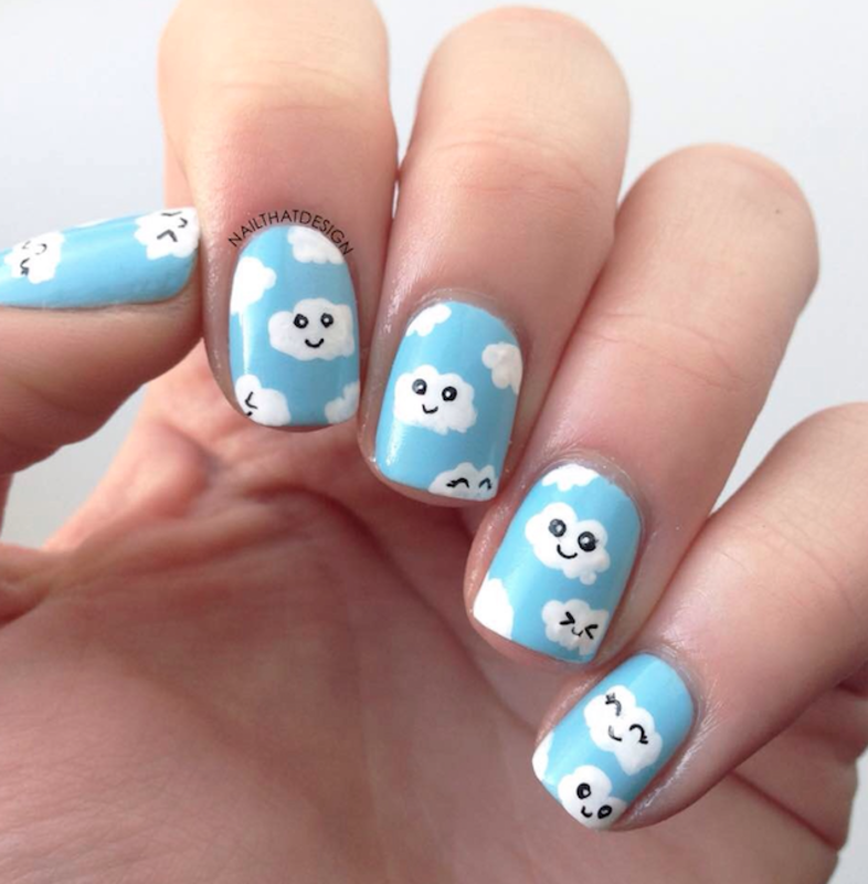 Kawaii Clouds nail art by NailThatDesign - Nailpolis: Museum of Nail Art