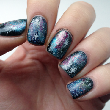 Galaxy on nubbins nail art by NailThatDesign
