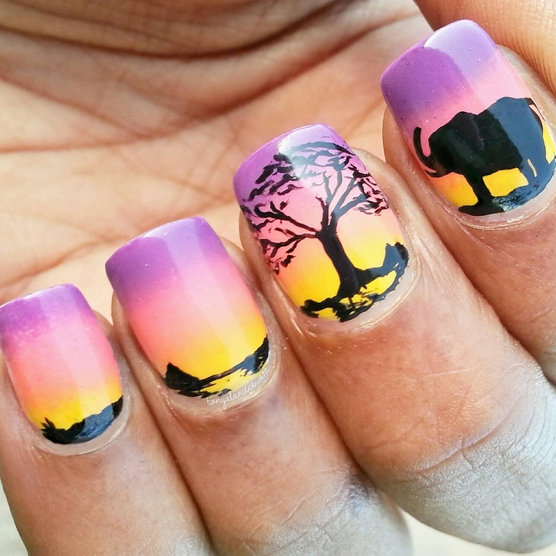 The Serengeti nail art by Tonya