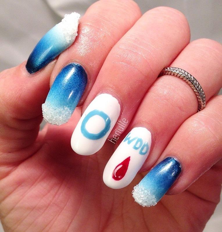 World diabetes day nail art by Henulle