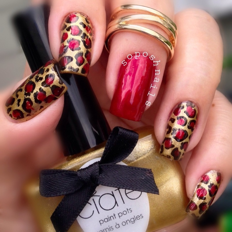 Red and Gold Leopard  nail art by Debbie
