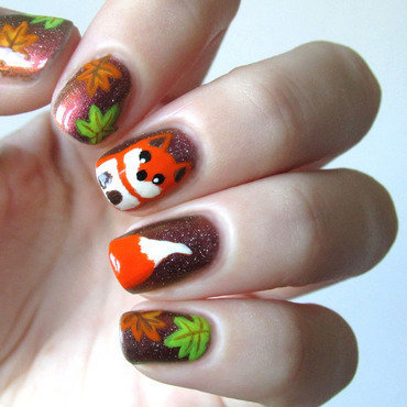 Autumn leaves and fox nail art by Estelle Heart