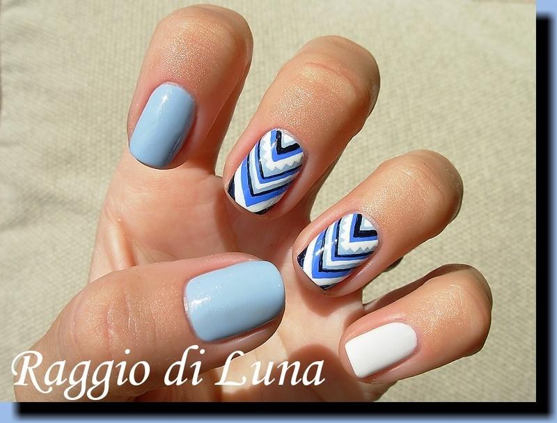 Blue & white chevron skittlette nail art by Tanja