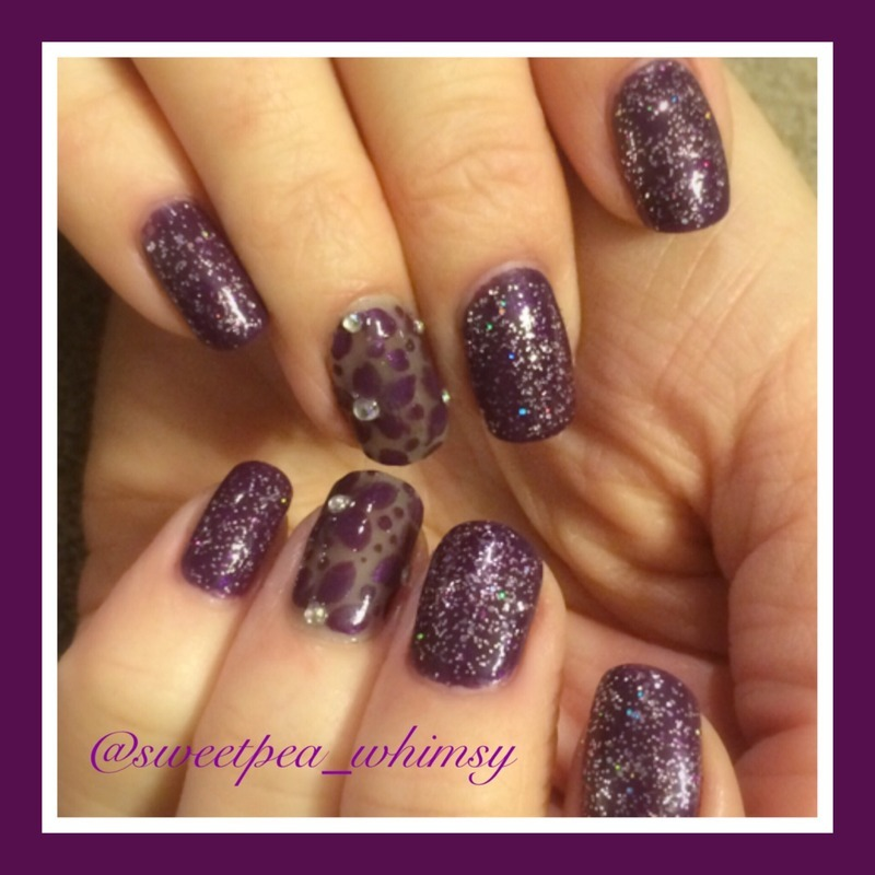 Plum Floral & Glitter nail art by SweetPea_Whimsy