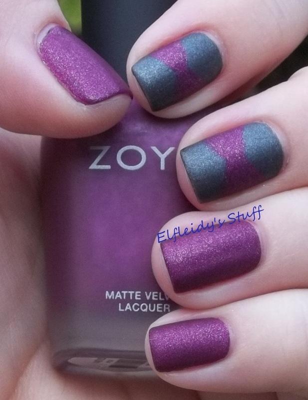 Zoya Matte Velvet free hand nail art by Jenette Maitland-Tomblin