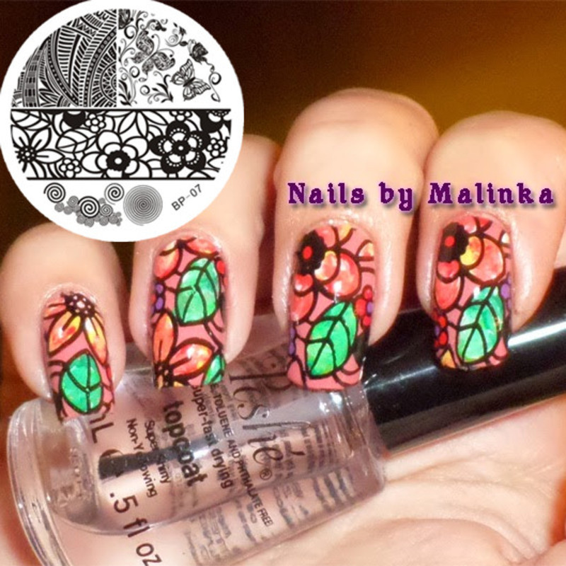 Colorful Flower Stamping Nails nail art by Born Pretty