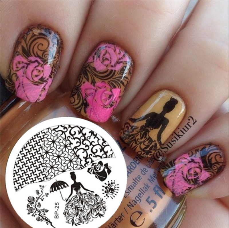 Gorgeous Rose Elegant Lady Stamping Nails nail art by Born Pretty