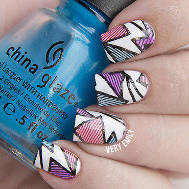 Leadlight Stamping nail art by Very Emily