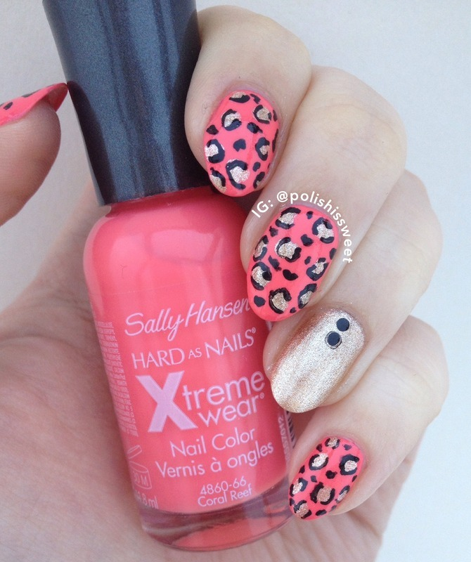 Pink & Gold Leopard Print! nail art by PolishIsSweet