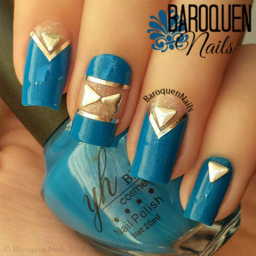 Blue And Silver Negative Space nail art by BaroquenNails