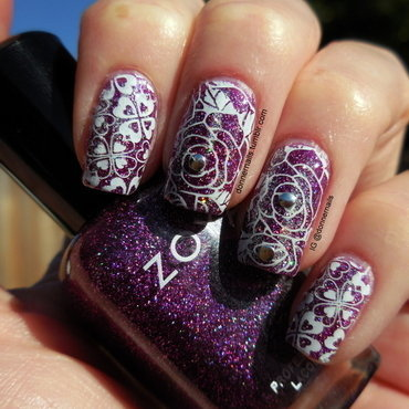 Floral Stamping nail art by Donner