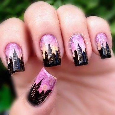 New York City Skyline  nail art by Debbie