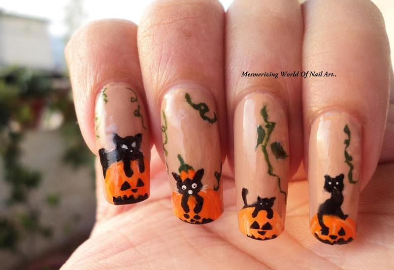 Cats over pumpkins : Thanksgiving and Halloween Nails nail art by Anubhooti Khanna