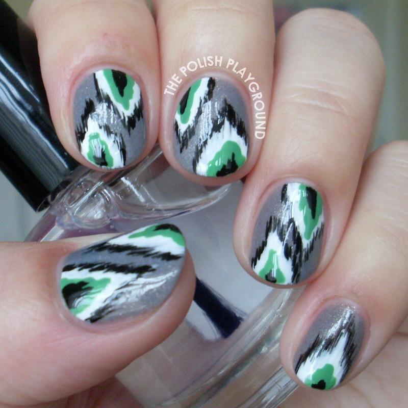 Grey and Green Ikat Print nail art by Lisa N