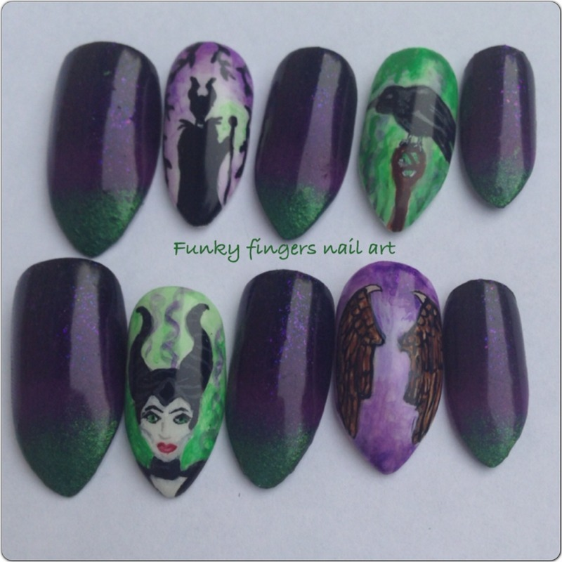 Maleficent stick ons nail art by Funky fingers nail art