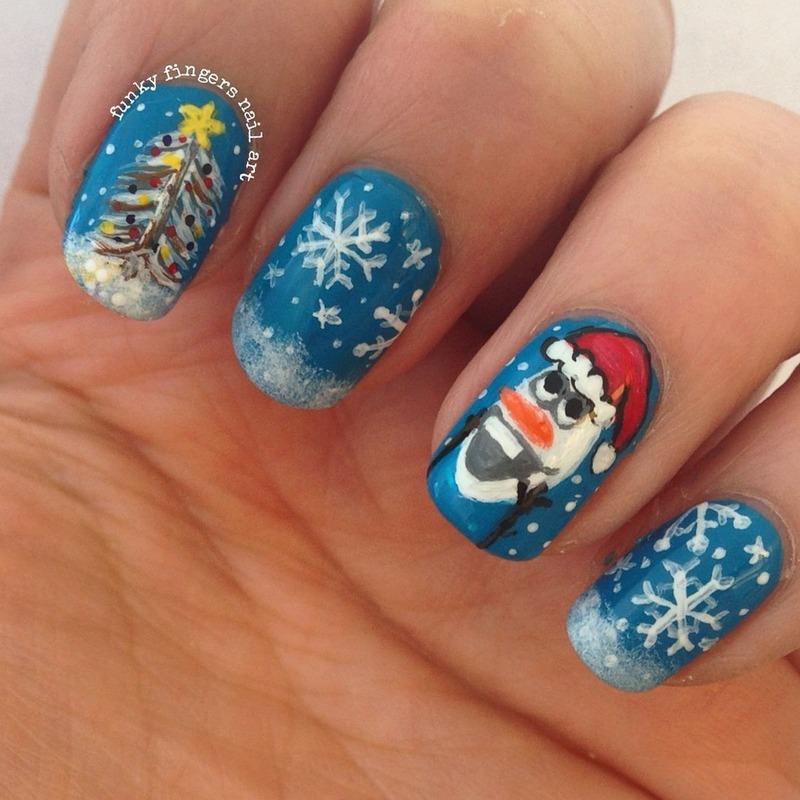 Christmas Olaf Nail Art by