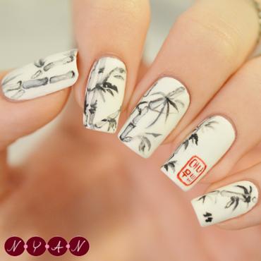 Bamboo nail art by Becca (nyanails)