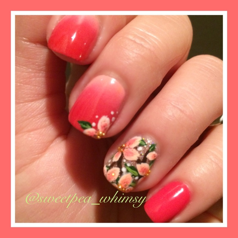 Red/Pink Ombré & Floral nail art by SweetPea_Whimsy