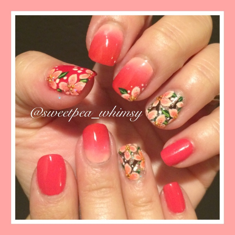 Red/Pink Ombré & Floral (Both Hands) nail art by SweetPea_Whimsy