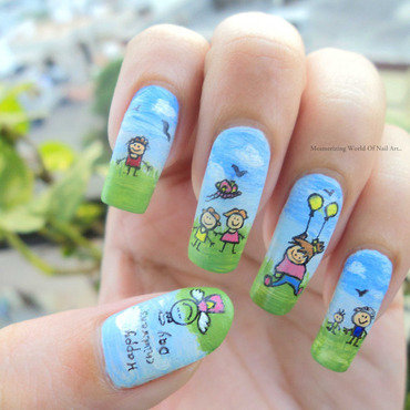 Children's Day Nail Art nail art by Anubhooti Khanna