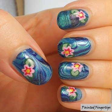Water Lilies nail art by Kerry_Fingertips