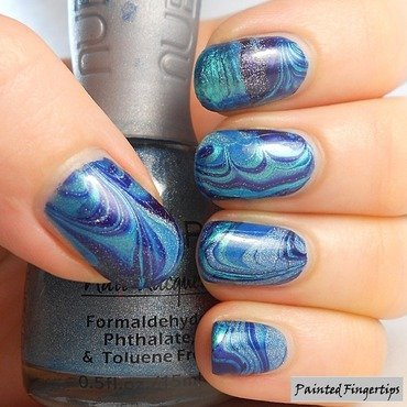 Blue Water Marble nail art by Kerry_Fingertips