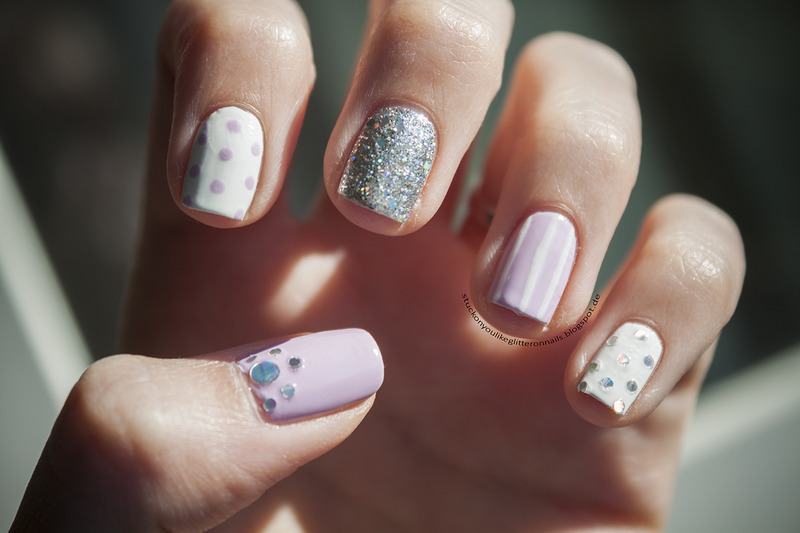 lilac meets silver glitter nail art by Jule
